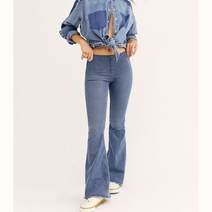 Free People | Pull-on Flair Jeans  Authentic Blue